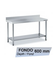 Wall-side work table in stainless steel with shelf Depth 600 mm