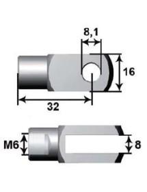 Anclaje Bifurcado Ø10mm L24 M6