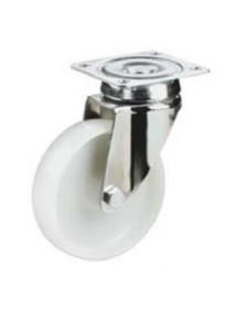 Rueda giratoria Ø 80mm nylon soporte acero galvanizado montaje por pletina