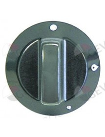 Gas tap knob without pilot flame ø 60mm diameter ø shaft down 8x6,5mm black flat