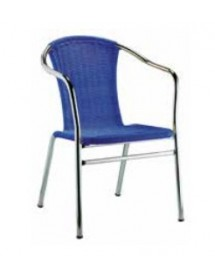 Terrace steel chair and polypropylene seat in rattan