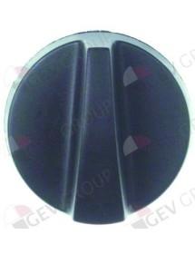 pomo interruptor marca cero ø 40mm eje ø 6x4,6mm parte plana arriba negro HLP-20 despiece 14