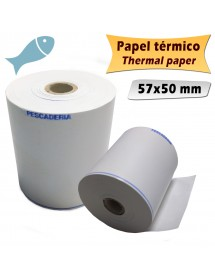 Rolls of thermal paper 57x50 mm PESCADERIA (Pack of 10 units)