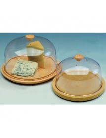 Wooden cheese container and plastic lid