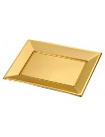 Bandeja rectangular Oro 330x225mm PS (Pack 2 uds)