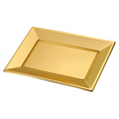 Golden rectangular tray PS 330x225mm (2 pcs)