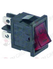 Rocker switch mounting measurements 19x13mm red 2NO 250V 13A illuminated 0-I XCK-017